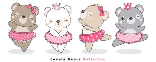 lindo doodle osos bailarina ilustración vector