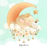 Cute doodle baby lion with watercolor illustration vector