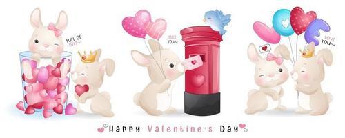 lindo conejito doodle para la colección del día de san valentín vector