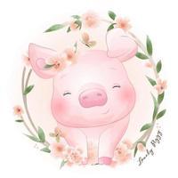 lindo doodle alcancía con ilustración floral vector
