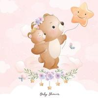 Cute doodle bear with floral illustration vector