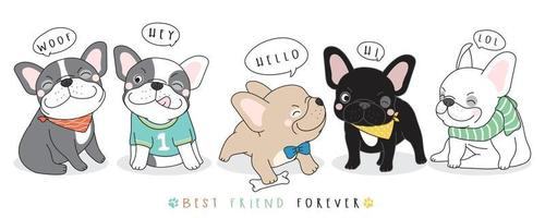 lindo doodle ilustración de bulldog francés vector