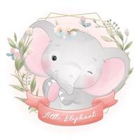 Cute doodle elephant with floral illustration vector