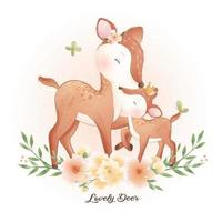 Cute doodle deer with floral illustration vector