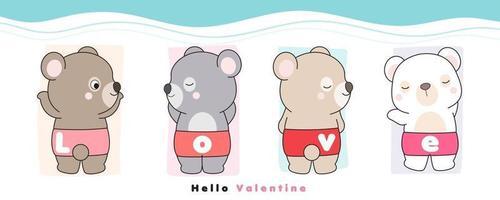 lindo oso doodle para la ilustración del día de san valentín vector