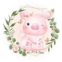 Cute doodle piggy with floral illustration vector