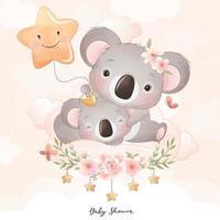 Cute doodle koala bear with floral illustration vector
