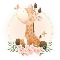 Cute doodle giraffe with floral illustration vector