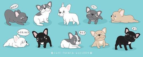 Colección de poses de bulldog francés lindo doodle vector