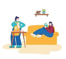 people activities, woman baking cupcakes and girl reading a book on the sofa vector