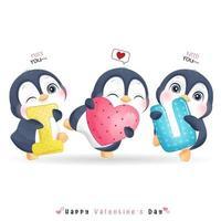 lindo pingüino doodle para el día de san valentín vector