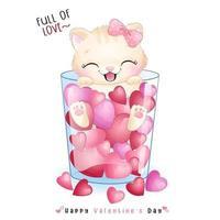 lindo gatito doodle para el día de san valentín
