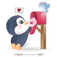 lindo pingüino doodle para el día de san valentín