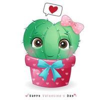 lindo cactus doodle para el día de san valentín vector