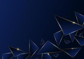 Línea dorada de lujo de patrón poligonal abstracto con fondo de plantilla azul oscuro. estilo premium para póster, portada, impresión, obra de arte. ilustración vectorial
