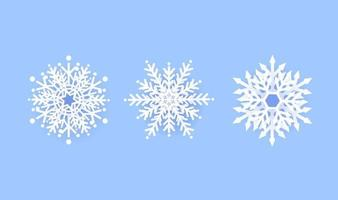 Snowflake winter set icon design on blue background. Vector illustration