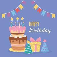 feliz cumpleaños, pastel, velas, sombreros de fiesta, caja de regalo y celebración de banderines vector