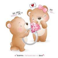 lindo oso doodle para el día de san valentín vector
