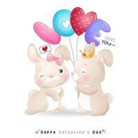 lindo conejito doodle para el día de san valentín