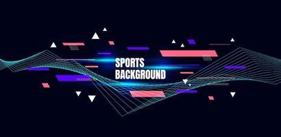 arte colorido abstracto para el fondo de los deportes. partículas dinámicas. elemento moderno de ciencia y tecnología con diseño de línea. ilustración vectorial