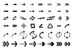 conjunto de diseño de colección de iconos de flechas planas negras. vector de fondo
