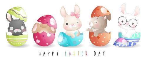 lindo conejito doodle para feliz día de pascua ilustración vector
