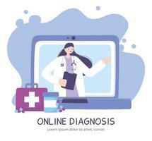 Banner de diagnóstico en línea con médico y portátil.