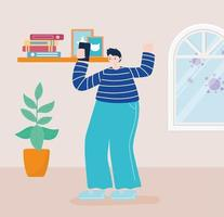young man with a smartphone at home vector