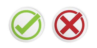 Correct and incorrect sign, check mark sticker style, vector illustration