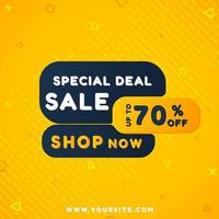 Modern sale banner with geometric shapes and yellow color