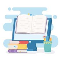 education online with computer and book vector