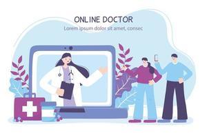 Banner de médico en línea con pacientes y computadora portátil.