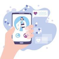 concepto de telemedicina con médico en el teléfono inteligente