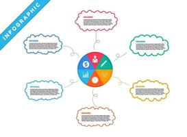 Infographic with colorful mind mapping bubbles and icons