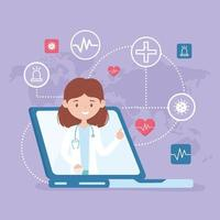 online care with doctor on the laptop vector