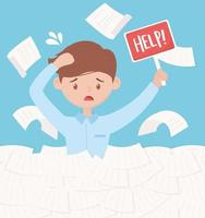 stressed businessman, office work frustration and stress vector