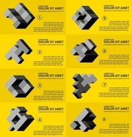 The abstract three-dimensional cube as an element of design template