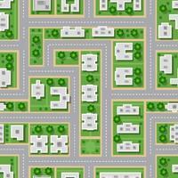Vista superior de la ciudad de patrones sin fisuras de calles, carreteras, casas y coches. vector