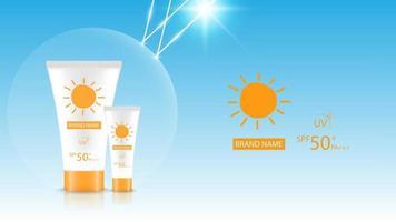 maqueta de diseño de producto de bloqueador solar, diseño de publicidad cosmética, ilustración vectorial
