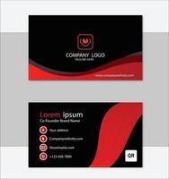 diseño de plantilla de tarjeta de visita geométrica roja y negra vector