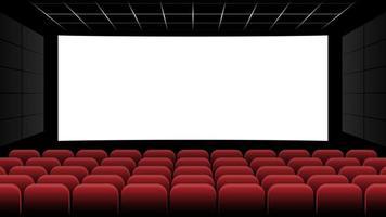 Cine sala de cine con pantalla en blanco y asientos rojos, ilustración vectorial vector