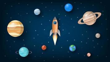 cohete volando hacia el universo con planetas del sistema solar, ilustración vectorial vector