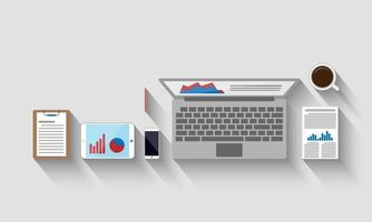 vista superior del lugar de trabajo, concepto de negocio, ilustración vectorial