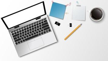 Vista superior del lugar de trabajo moderno, lápiz de nota de papel de café portátil sobre el fondo blanco y espacio para copiar texto, concepto de negocio, ilustración vectorial