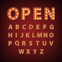 Vintage marquee bulb English alphabet sign, vector illustration