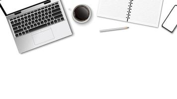Top view of modern workplace, laptop coffee paper note pencil on the white background and copy space for text, business concept, vector illustration