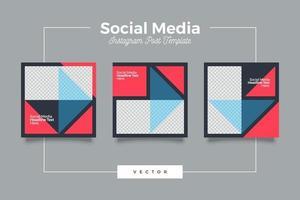 Conjunto de banner de plantilla de redes sociales modernas geométricas vector