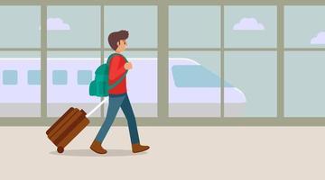 Viajar joven caminando en la terminal del aeropuerto con maleta, ilustración vectorial vector