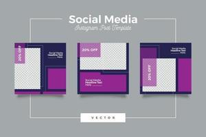 paquete de banner de publicación de redes sociales modernas moradas vector