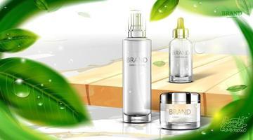 Paquete de botella cosmética de lujo, crema para el cuidado de la piel, póster de productos cosméticos de belleza, con hojas de té verde y fondo de color verde natural vector
